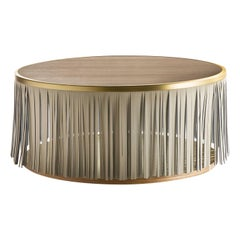 Indian Ash Coffee Table with Gray Leather Fringe