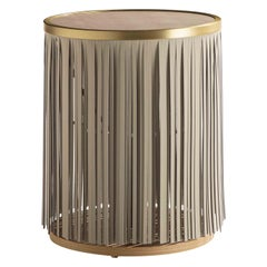 Indian Ash Side Table with Gray Leather Fringe