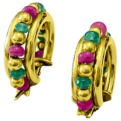Indian Bead Ruby Emerald 18 Karat Yellow Gold Hoop Earrings