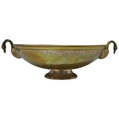 Indian Beaten Brass Oval Dish with Swan Handles