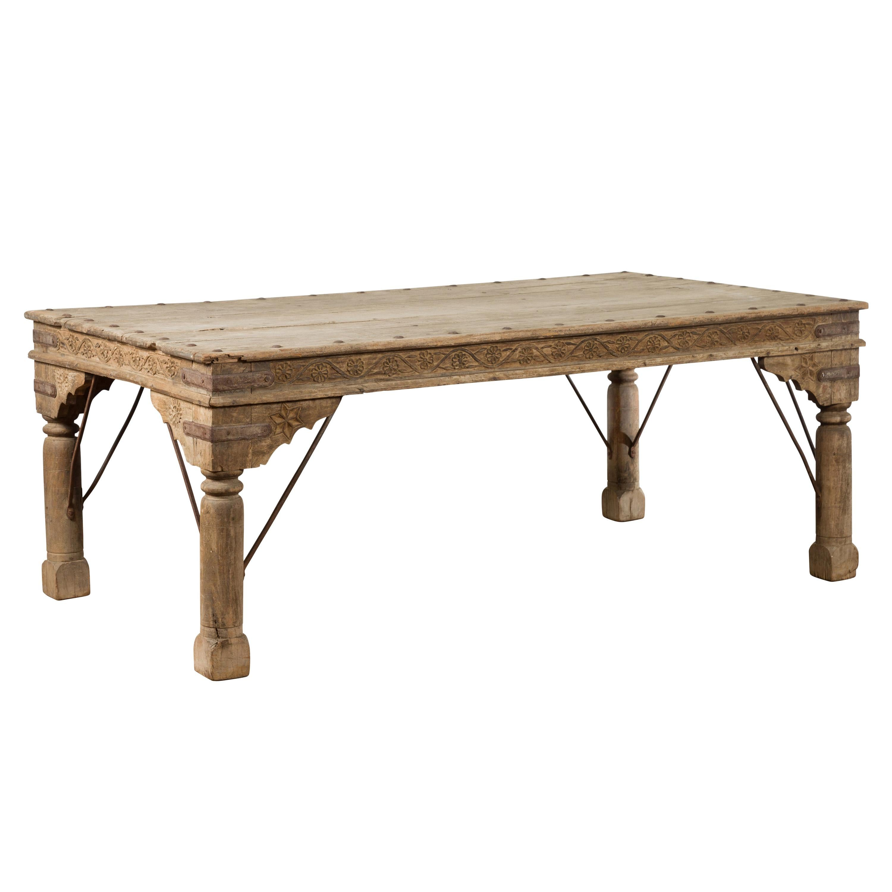 Indian Bleached Sheesham Wood and Iron Courtyard Door Made into a Coffee Table