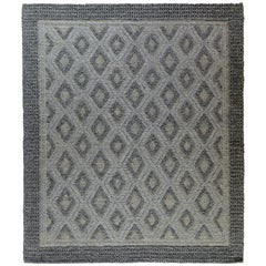 Indian Braided Rug in Black, Gray and Silver