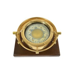 Indian Brass Compass on Wooden Board, 1930s