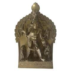 Indian Brass Plaque of Shiva as 4-Armed Virabhadra, 18th-19th Century