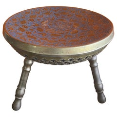 Indian Brass Three Legged Foot Stool