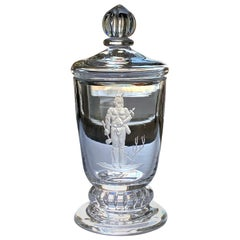 """Indian Brave,"" Rare, Important Art Deco Covered Urn by Waugh for Steuben"
