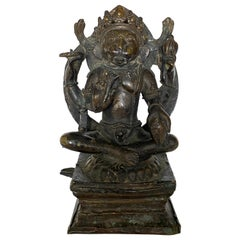 Indian Bronze Figure of Yoga Narasimha, 17th-18th Century