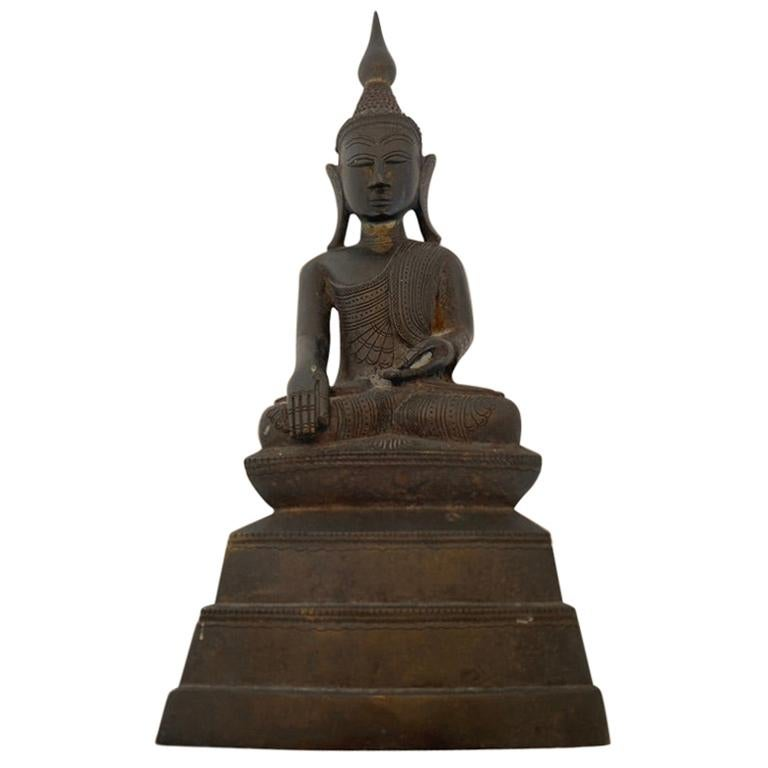 Indian Buddha Shan Bronze with Prayer Inside For Sale