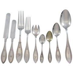 Indian by Whiting Sterling Silver Flatware Set Service 66 Pieces Dinner Early