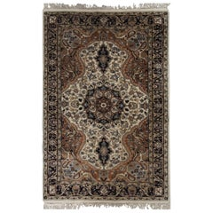 Indian Carpet Floral Handwoven Rug Cream Beige Wool Rug