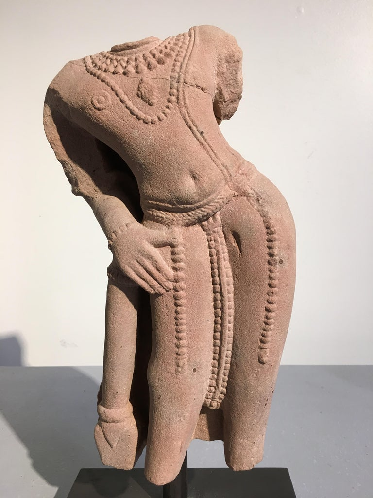 18th Century and Earlier Indian Carved Pink Sandstone Torso of Vishnu, 10th-11th Century For Sale