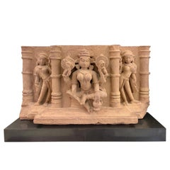 Indian Carved Sandstone Frieze of Lakshmi, Central India, 10th-11th Century