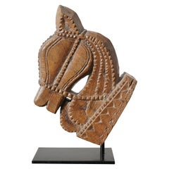 Indian Carved Wood Majaraja Style Horse Head, 19th Century