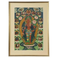 Indian Ceremonial Hindu Deity Hand-Painted on Canvas in Gilded Frame
