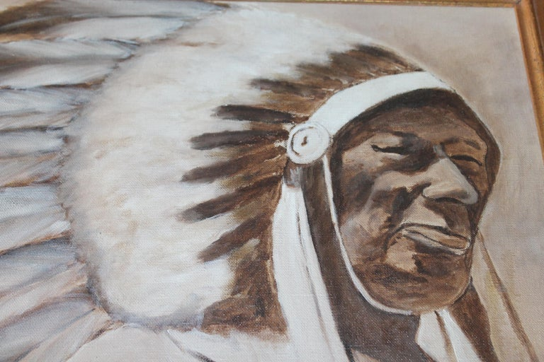 Hand-Painted  Indian Chief Oil Painting in Gold Frame For Sale