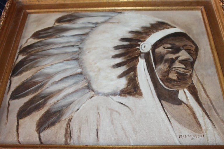 Indian Chief Oil Painting in Gold Frame In Good Condition For Sale In Los Angeles, CA