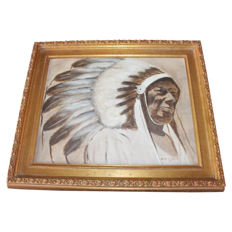 Indian Chief Oil Painting in Gold Frame For Sale