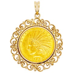 Indian Coin Pendant, 1908 Indian Head, 14 Karat Yellow Gold Native American, Ten