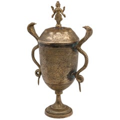 Indian Covered Brass Urn with Deity and Serpent Handles