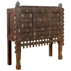 Indian Damachiya Gujarati Shesham Wood Two-Door Cabinet with Polychrome Accents