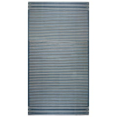 Indian Dhurrie Designed Handwoven Cotton Rug in Blue and Beige Stripes