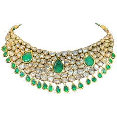 Indian Diamond and Emerald Necklace