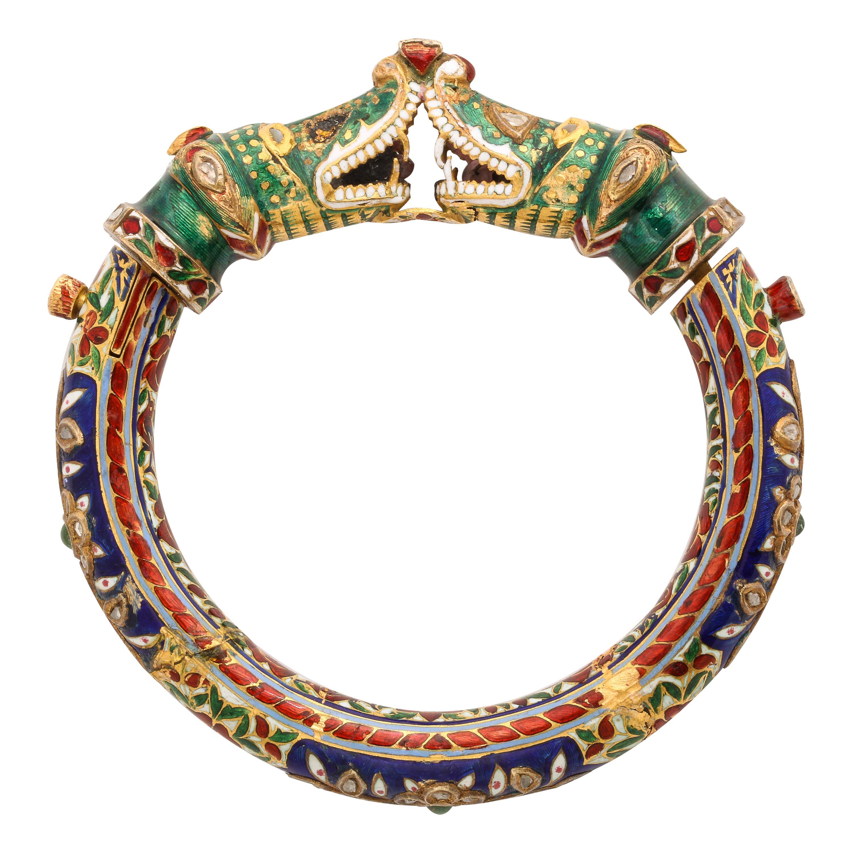 Indian Diamond and Enamel Bangle Bracelet