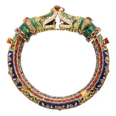 Indian Diamond and Enamel Bangle Bracelet
