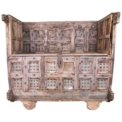 Indian Dowry Chest Carved Detailing with Wheeled Base