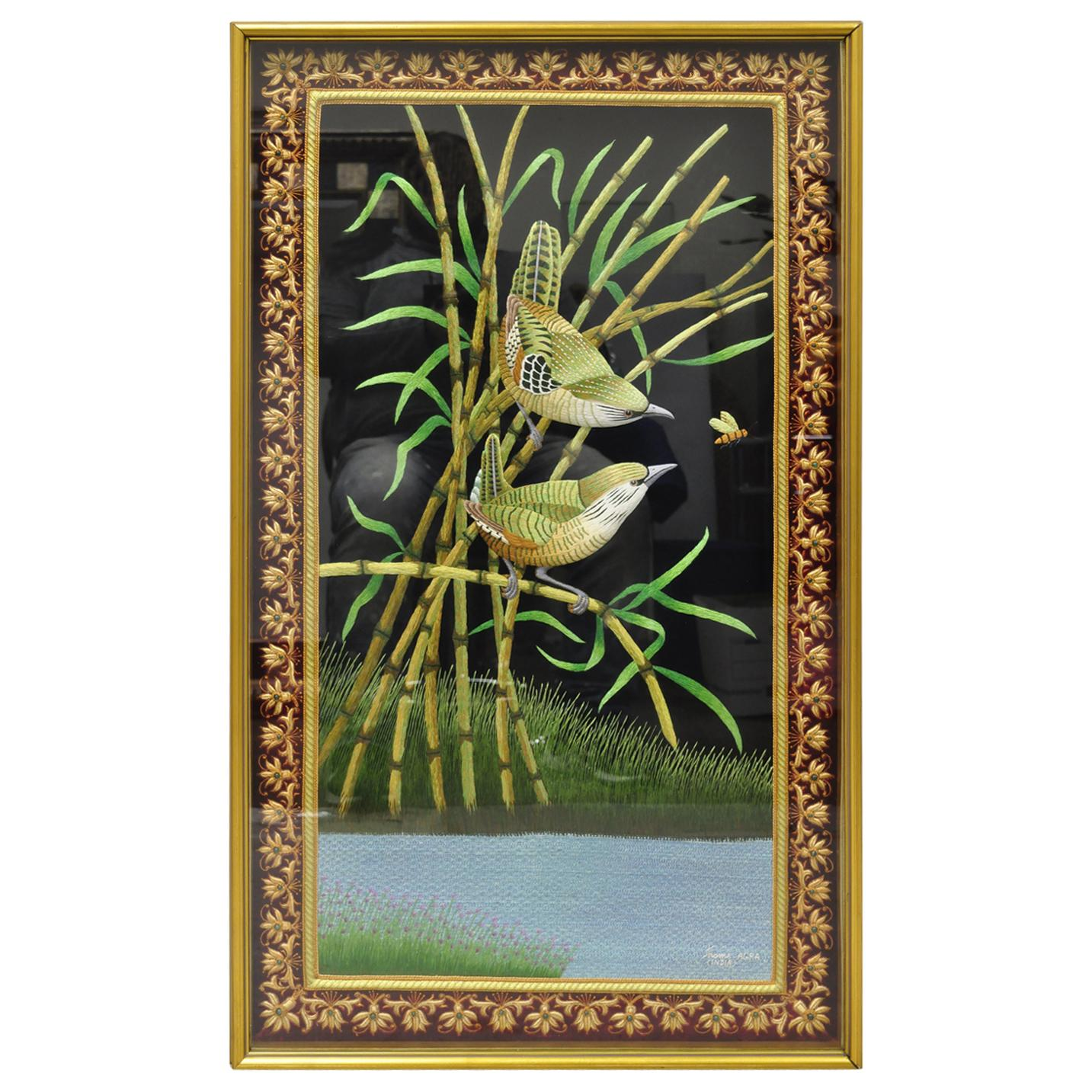 Indian Embroidered Birds and Bees Padded Tapestry Shadowbox Frame Wall Art