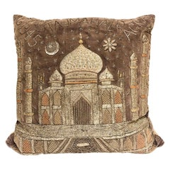 Indian Embroidered Velvet Taj Mahal Pillow, 1945