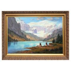 """Indian Encampment Lake Louise"" Original Painting by Heinie Hartwig"