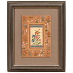 Indian Floral Still-Life from the Midcentury Period with Flowers and Birds