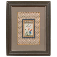 Indian Floral Still-Life from the Midcentury Period with Flowers and Calligraphy