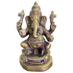 Indian Ganesh or Genesha Large Heavy Ornate Brass Sculpture