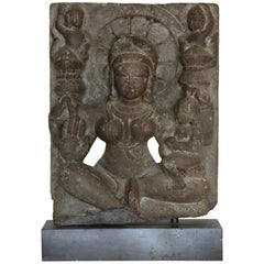 Indian Goddess Black Stone Sculpture, Rajasthan, 11th-12th Century