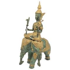 Indian Godhead Ridding Elephant Sculpture Statue Vintage, 1950s