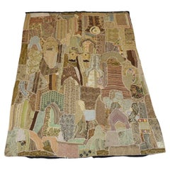 Indian Gold and Tan Patchwork with Mirrors Wall Hanging or Wall Tapestry