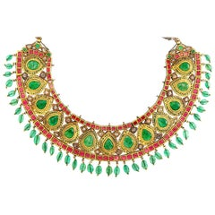 Indian Gold, Emerald, Ruby and Diamond Jaipur Enamel Fringe Necklace