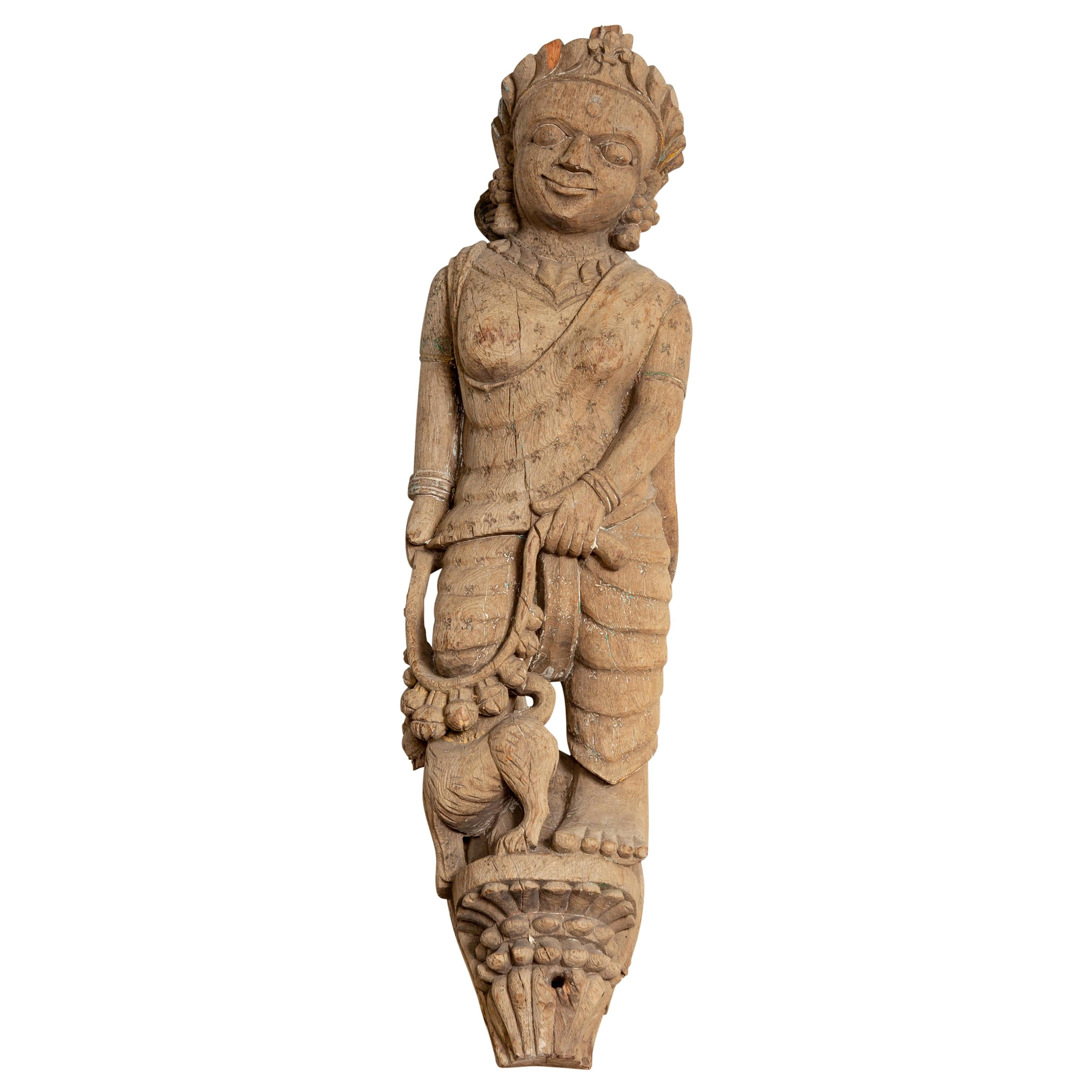 Indian Gujarat Hand Carved Temple Carving Statue Depicting a Woman and a Feline