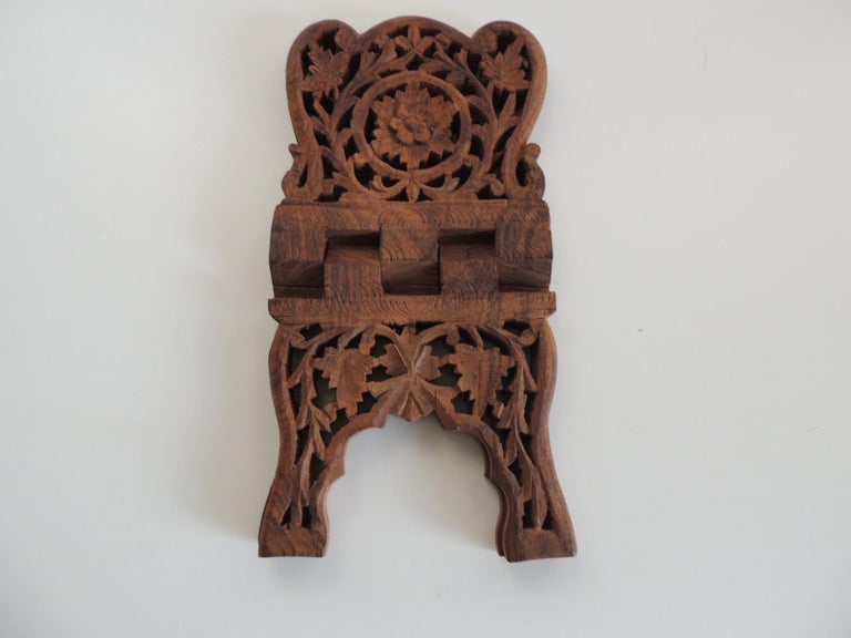 Hand-Crafted Indian Hand Carved Book Display or Stand For Sale
