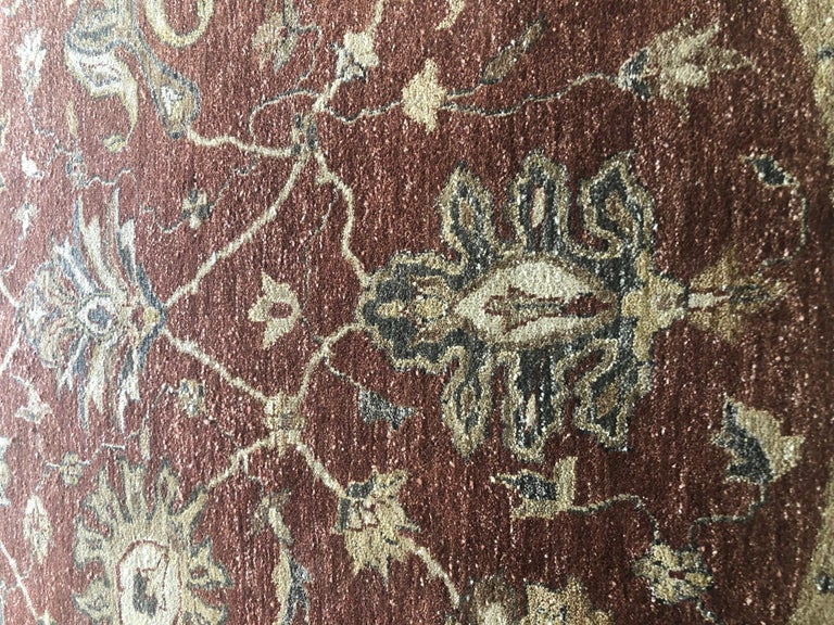 20th Century Indian Hand Knotted Rust Floral Mahal Design Rug For Sale