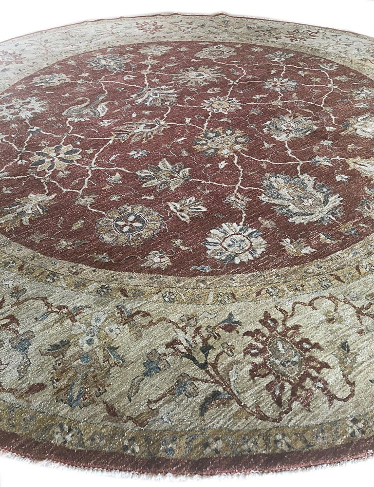 Indian Hand Knotted Rust Floral Mahal Design Rug For Sale 1