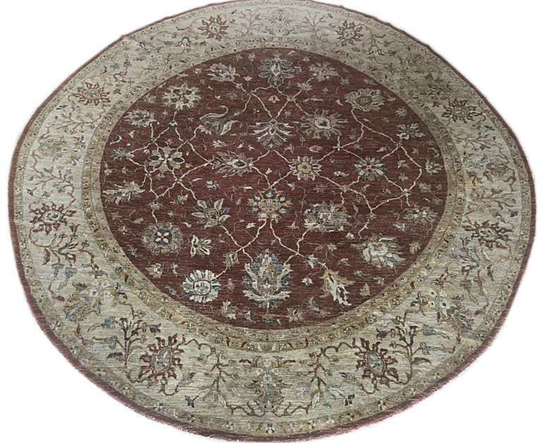 Indian Hand Knotted Rust Floral Mahal Design Rug For Sale 2