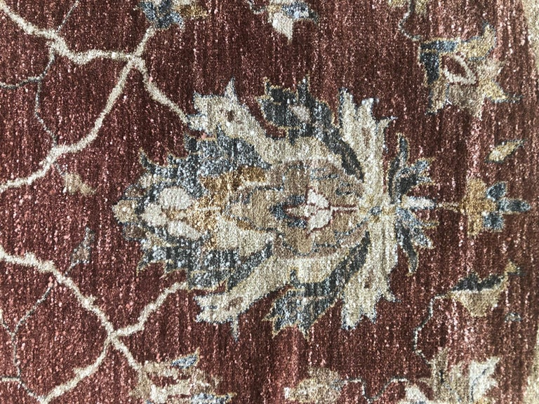 Indian Hand Knotted Rust Floral Mahal Design Rug For Sale 3