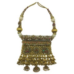 Indian Handcrafted Necklace in 22k Gold, Diamonds, Natural Pearls, Emerald, Ruby