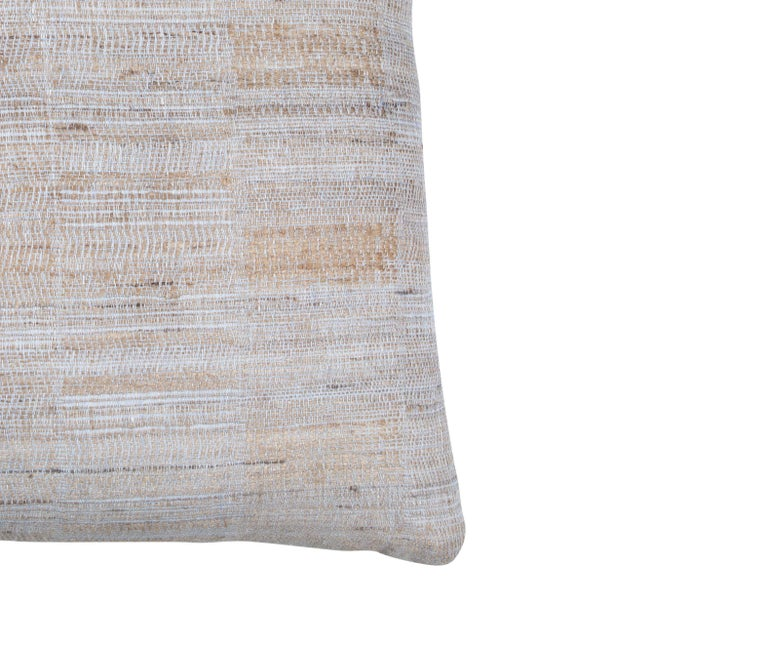 Indian Handwoven Pillow Ice Blue & Tan In New Condition For Sale In Los Angeles, CA