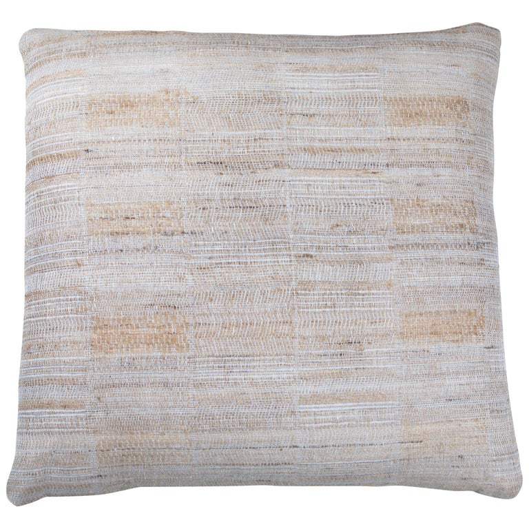 Indian Handwoven Pillow Ice Blue & Tan For Sale