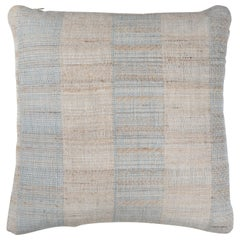 Indian Handwoven Pillow Tan and Light Blue