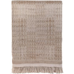 Indian Handwoven Raw Silk and Linen Bedcover, Beige Neutrals